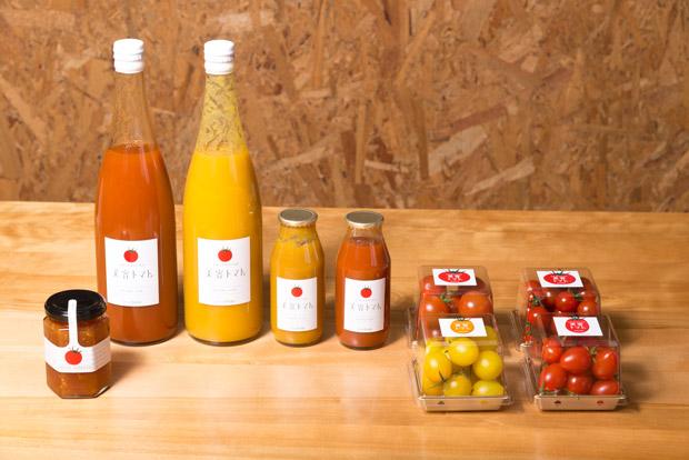 「フルティカ」「イエローアイコ」「アイコ」「小鈴」とトマトジュース2種類とトマトジャム